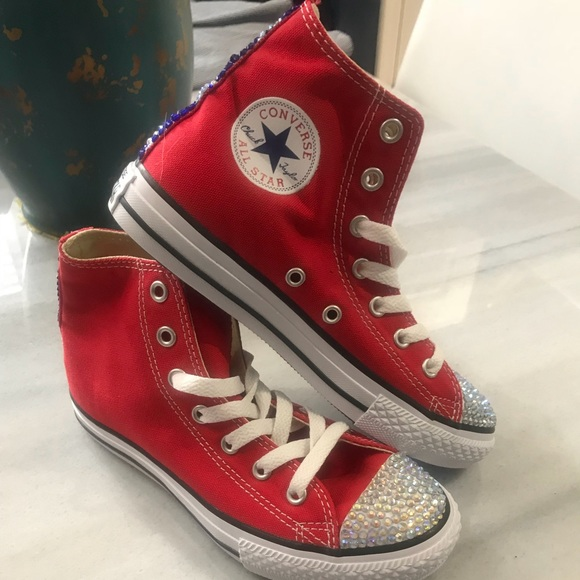 d8aef91f5909  90 Bling Red Converse sneakers size 2 youth